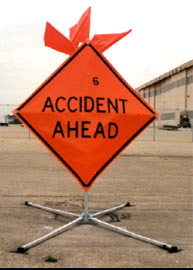 Accident ahead sign